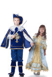 Beeld van moedige musketier en het charmeren Cinderella royalty-vrije stock afbeeldingen