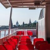 Beeld van Moskou het Kremlin van een sightseeingsboot op Moskva-rivier Stock Afbeeldingen
