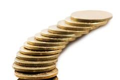 Beeld van muntstukken op een witte achtergrond Royalty-vrije Stock Foto