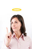 Beeld van onderneemster met halo boven hoofd. stock fotografie