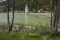 Beeld van oud gedaald van Zuid- Resia Reschen van het kerkmeer Tirol Italië Stock Fotografie