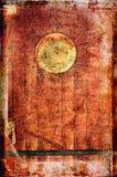 Beeld van oude schipdeur met een rond venster uitstekend stijltextuur bedekt effect Stock Fotografie
