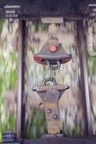 Beeld van oude wagenhaken met trein in motie Royalty-vrije Stock Fotografie