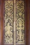 Patroon oud van deurbeeldhouwwerk Stock Fotografie