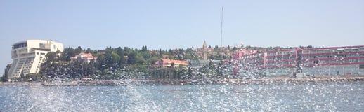 Beeld van piran van boot overzeese plons Royalty-vrije Stock Afbeeldingen