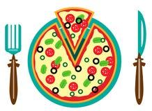 Beeld van plaat met pizza Stock Fotografie
