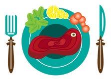 Beeld van plaat met vlees Stock Foto