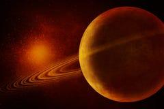 Beeld van Planeet met ringen Stock Foto's