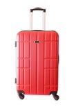 Beeld van rode elegante die reisbagage op wit wordt geïsoleerd Stock Afbeelding