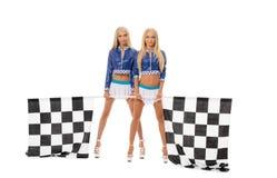 Beeld van sexy jonge blonden die als rasmeisjes stellen Stock Fotografie