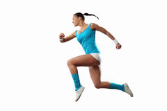 Beeld van sportvrouw het springen Royalty-vrije Stock Foto's
