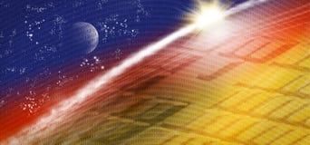 beeld van technologisch, kosmisch landschap Royalty-vrije Stock Afbeeldingen