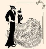 Beeld van twee flamencodansers Royalty-vrije Stock Afbeeldingen