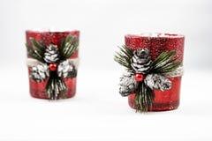 Beeld van twee ornamenten van de Kerstmiskaars stock fotografie