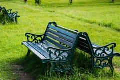 Beeld van twee zwarte gekleurde banken van het parkijzer op een weelderig groen grasgebied in middag royalty-vrije stock fotografie