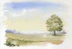 Beeld van typisch Engels Platteland Watercolour Royalty-vrije Stock Foto's
