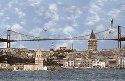 Beeld van zeer grote achtergrond van Istanboel. Stock Afbeelding