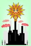 Beeld van zon en fabriek Royalty-vrije Stock Afbeelding