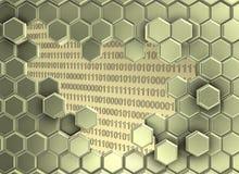 Beeld van zware die hexagon muur door de digitale era wordt gebroken royalty-vrije illustratie