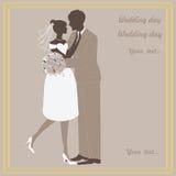 Beelden, de bruid en de bruidegom van het huwelijk de vector Stock Afbeelding