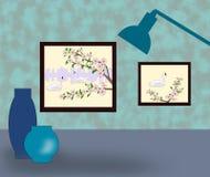 Beelden, lamp en vazen Royalty-vrije Stock Afbeelding