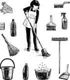 Beelden op het thema van het schoonmaken Stock Foto