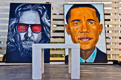 Beelden van Barack Obama en Jeff Bridges stock foto