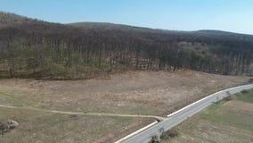 Beelden van een hoogte met een blauwe hemel, een mooi bos, een weg, op de eerste dag van de lente stock videobeelden