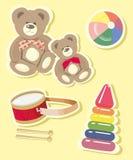 Beelden van geplaatste het speelgoed van kinderen Stock Foto