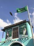 Beelden van het recht van KoningsSalman en de Kroonprins buiten een gebouw in Taif, Makkah, Saudi-Arabië royalty-vrije stock afbeeldingen