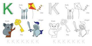 Beelden voor brief K royalty-vrije illustratie