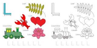 Beelden voor brief L stock illustratie