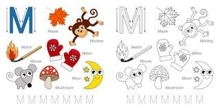 Beelden voor brief M stock illustratie