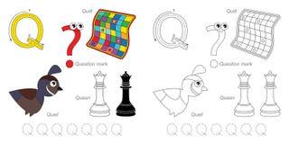Beelden voor brief Q vector illustratie