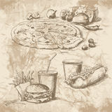 Beelden voor het menu van fast-food Royalty-vrije Illustratie