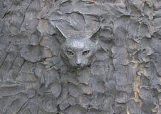 Beeldhouwer` s kat in het Vrijheidsbeeldhouwwerk, door Zenos Frudakis, Philadelphia wordt opgenomen dat Stock Foto
