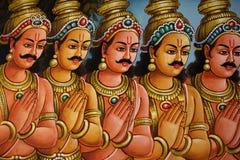 Beeldhouwwerk, architectuur en symbolen van Hindoeïsme en Boeddhisme stock afbeeldingen