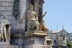 Beeldhouwwerk bij Monument op Placa Espana Barcelona Spanje Royalty-vrije Stock Foto