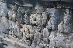 Beeldhouwwerk in Borobudur Stock Afbeeldingen
