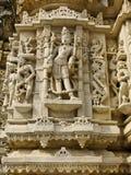 Beeldhouwwerk in de Jain Tempel, Udiapur India Stock Afbeeldingen