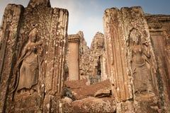 Beeldhouwwerk in de tempel, Angkor Wat, Kambodja Stock Afbeeldingen