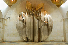 Beeldhouwwerk op metro van Moskou post Aviamotornaya (Icarus) Royalty-vrije Stock Foto's