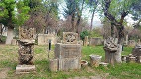 Beeldhouwwerk ruin& x27; s van djemila, Algerije Stock Fotografie