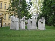 Beeldhouwwerk, Steen, Tweede Wereldoorlog, Sremski Karlovci, Vojvodina, Servië stock foto's