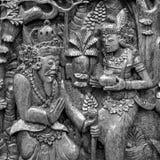 Beeldhouwwerk van de traditionele kunst van India in zwart-wit Royalty-vrije Stock Foto's