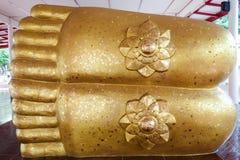 Beeldhouwwerk van de voet van Boedha Stock Fotografie