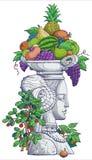 Beeldhouwwerk van de vrouw met fruit Stock Foto's
