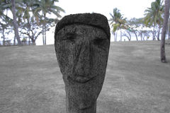 Beeldhouwwerk van een gezicht Stock Foto