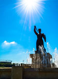 Beeldhouwwerk van een meermin in Warshau dichtbij de fontein Royalty-vrije Stock Afbeeldingen
