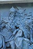Beeldhouwwerk van Gediminas, Grote Prins van Litouwen bij het monumentenmillennium van Rusland, Veliky Novgorod, Rusland Royalty-vrije Stock Foto's